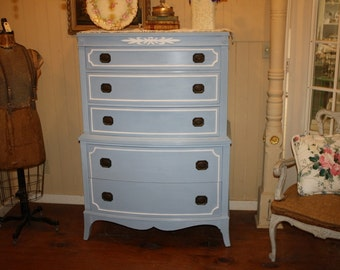 Shabby Chic Dresser High Boy Annie Sloan Chalk Paint Blue White Huntley Furniture Signed Louise Blue & White French Provincial Vintage