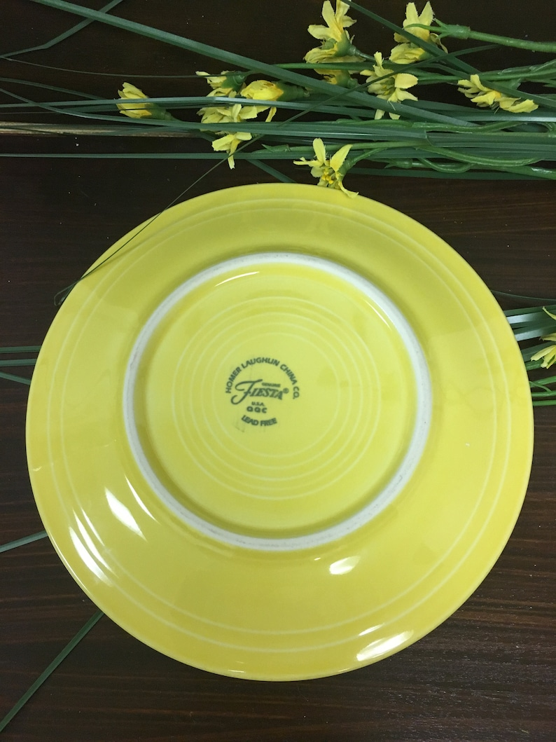 Vintage Fiesta Yellow Lunch Plate Homer Laughlin Salad Plate Canary Yellow Bright Art Pottery Collectible