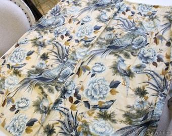 6 Curtain Panels Waverly Tanglewood w Reverse Bark Cloth Blue Exotic Birds Pttrn