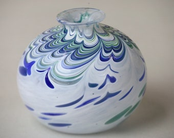 """Art Glass Vase Blue Green White Swirl Pattern Unsigned Smooth Bottom 3.25"""" Tall Modern Collectible Art Glass"""