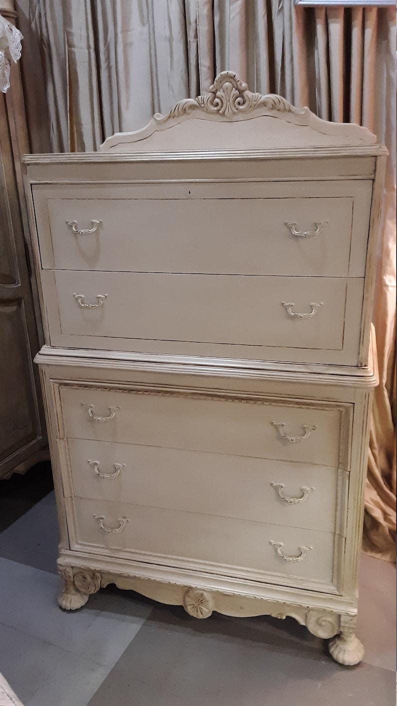 Antique Painted Dresser French Provincial Chalk Paint Ecru Old Etsy