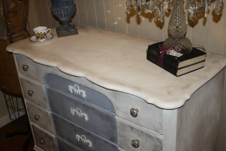 Shabby chic dresser painted white gray black floral appliques etsy