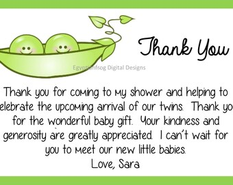2 peas in a pod baby shower thank you note great for twins colors can be changed you print