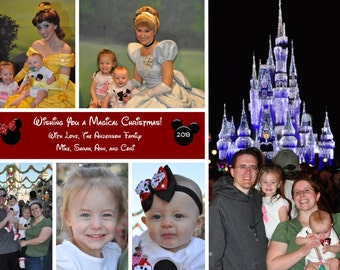 disney mickey minnie mouse christmas holiday new year photo card large photo plus multi photo collage you print