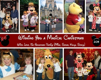 Disney, Mickey, Minnie Mouse Christmas, Holiday, New Year Photo Card - Multi Photo Collage - You Print