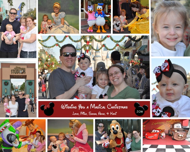 disney mickey minnie mouse christmas holiday new year photo card multi photo collage you print