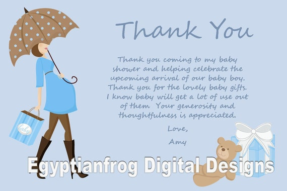 Blue Baby Bump Pregnancy Baby Shower Thank You Notes You Etsy