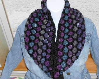 Crochet Midnight Cowl Magnificent Shimmering Beauty by kamsstore.com