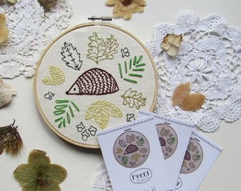 Embroidery kit - hedgehog and leaves