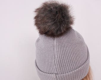 Smokey Bear Faux Fur Pompom. Faux Fur Pompoms. Fur Pom Pom. Faux Fur Pompom for Hat. Faux Fur. Sew On Faux Fur Pompom.
