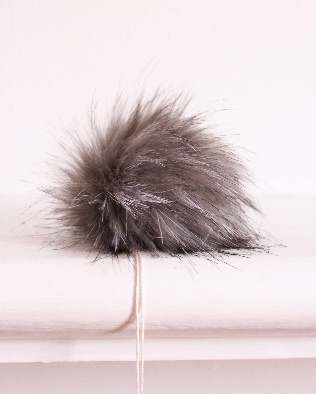 fed67a07e97bc Silver Fox Faux Fur Pompom. Grey Faux Fur Pompom. Faux Fur Pompoms. Fur Pom  Poms for Hats. Faux For Fur Pompoms.