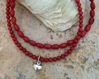 Red Bamboo Coral and Silver Heart Multi-Strand Bracelet