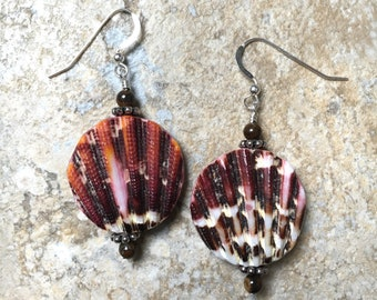 Seashells & Zebra Jasper Silver Boho Earrings