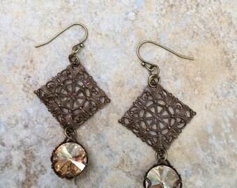 Antique Brass Filigree Tile Earrings with Swarovski Copper Rivoli Crystals