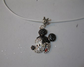 Girls Necklace on a white cord with rhinestone mickey mouse pendant