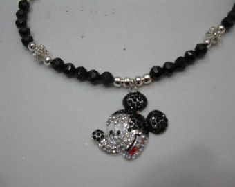 Toddler black and rhinestone beaded necklace with rhinestone mickey mouse pendant