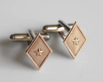 FIJI Fraternity Cufflinks / Phi Gamma Delta Cufflinks / Bronze Cufflinks  FIJI Diamond  PGD Diamond / Greek Licensed Cufflinks