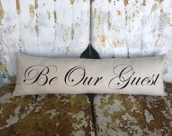 Be Our Guest Pillow / Long Bench or Bed Pillow in Cream Cotton Accent Throw Pillow / Modern Country Farmhouse