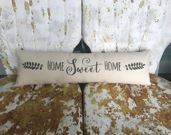 Home Sweet Home Pillow / Long Bench or Bed Pillow Cream Cotton Accent Throw Pillow / Modern Home Decor Farmhouse