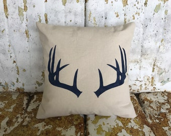 Deer ANTLERS Pillow / Square Cream Cotton Accent Throw Pillow / Country Modern Farmhouse Farm Rustic Home Decor