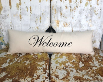 WELCOME Pillow / Long Bench or Bed Pillow in Cream Cotton Accent Throw Pillow / Modern Country Farmhouse