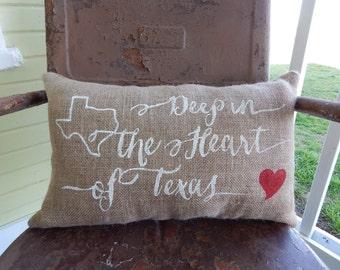 Texas Pride Deep in the Heart of Texas BURLAP Lumbar Pillow Burlap Pillow Custom Colors Painted Burlap Throw Accent Pillow Home Decor