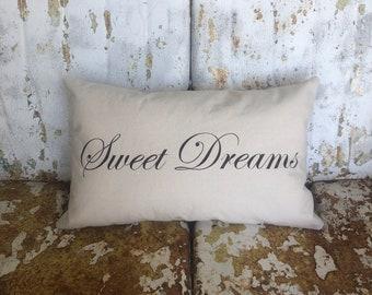 Sweet Dreams Pillow / Lumbar Cream Cotton Accent Throw Pillow / Modern Farmhouse Rustic Home Baby Shower Nursery Kids Room Decor