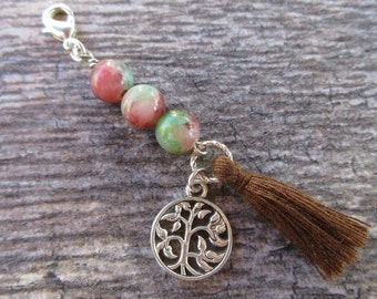 Tree of Life tassel Clip-On Charm Tibetan Silver zen planner charm, Purse charm, tote charm, Key fob, Zipper pull Boho chic choose charm