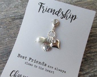 BFF Clip-On Charm Tibetan Silver Friendship gift, purse charm, planner charm, Key fob dangle, Zipper pull heart charm pearl dangle