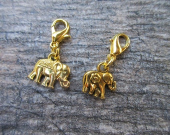 Gold tone Elephant Clip-On Charm planner charm, purse/bag charm, Key fob, zipper pull charm accessory