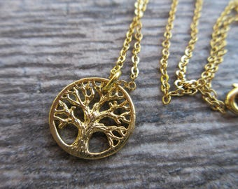 "Gold plate Tree of Life charm necklace, 18"" gold plate cable chain with spring clasp"