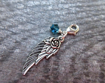 Angel Wing and birthstone crystal Clip-On Charm Silver tone lobster clasp--planner charm, purse/bag charm, Key fob, zipper pull customize