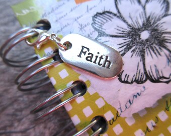 Sterling Silver FAITH Clip-On Charm silver planner charm, purse/bag charm, Key fob, zipper pull dog tag style