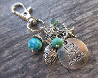 Live Your Dream Clip-On Purse Charm Tibetan Silver beach charms large silver one lobster clasp--tote charm, Key fob, bag charm, Boho chic
