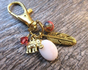 Boho Clip-On Purse Charm Gold tone Elephant & Feather charms, pink peruvian opal gold swivel clasp--tote charm, Key fob,