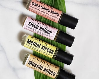 Headache tension Insomnia Stress Sore Muscle Aches relaxation essential oil aromatherapy blend in a convenient roll-on roller ball accessory