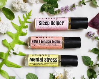 Relaxation Aromatherapy gift set sleep helper, mental stress, and head and tension relaxing aromatherapy rollers