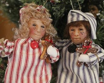 Vintage Polymer Children Ornaments Sleepy Time