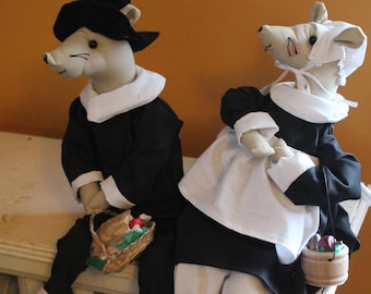 Handcrafted, hand painted Holiday Thanksgiving Mr. and Mrs. Pilgrim (set)