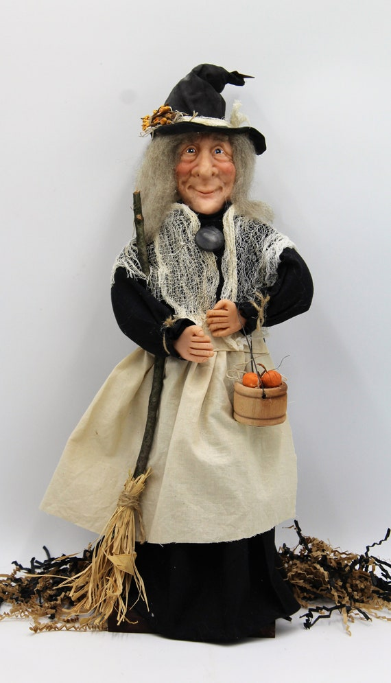 Polymer Clay Halloween Witch with Hat, Bucket Full Of Pumpkins and Broom
