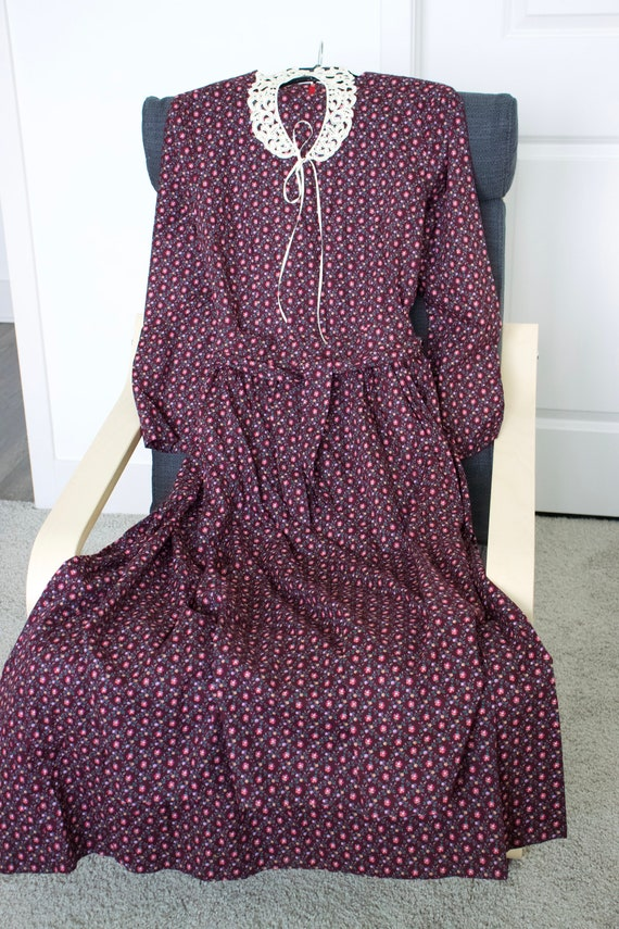 Vintage Prairie Calico Maxi Dress w/Matching Apron