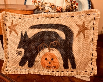 Spooky Cat Hand-Painted Pillow ~ Price Includes The Shipping