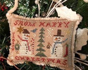Snow Happy ~ 2021 Annual Snowman Ornament ~ Cross Stitch Pattern