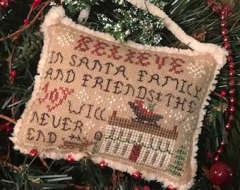 Believe In Santa ~ 2021 Annual Sampler Ornament ~ Cross Stitch Pattern