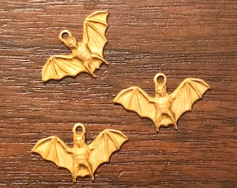 Bat Brass Charms (3 to a package) Price Includes The Shipping