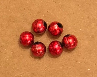 """Red Vintage Type Beads (3/16"""" diameter/Qty. 6) ~ Price Includes the shipping"""