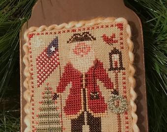 Flag Waving Santa ~ 2021 Annual Santa Ornament ~ Cross Stitch Pattern
