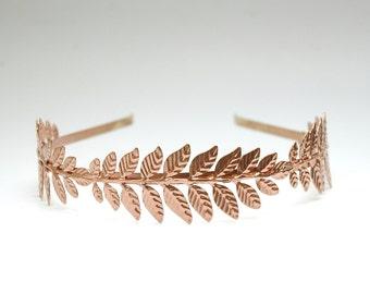 Goddess Rose Gold Leaf Wedding Headband Prom Grecian Headpiece Boho Wedding Headband Copper Laurel Leaf Crown, Greek Goddess Hair Piece