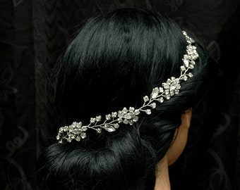 Wedding Headband Hair Vine Simple Headband, Silver Bridal Headpiece, Boho Bridal Hair Piece, Crystal Hair Vine Boho Wedding Hair Accessories
