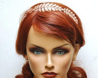 Roman Leaf Tiara, Wedding Rose Gold Headband, Grecian Leaf Crown,  Bridal Leaf Headband Copper Laurel Leaf Bridal Crown, prom accessory